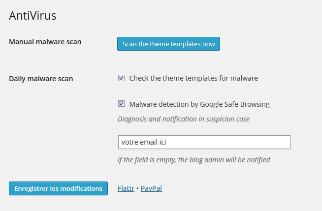 Capture d'écran du plugin antivirus pour wordpress