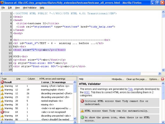 Html validator capture d ecran